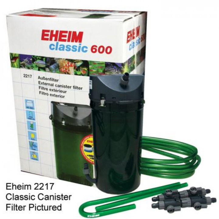 EHEIM FILTRO EXTERIOR 2217 CLASSIC 600 with filter pads and double taps