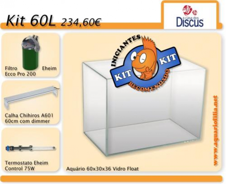 KIT INICIANTE 60L AQUARIOFILIA.NET