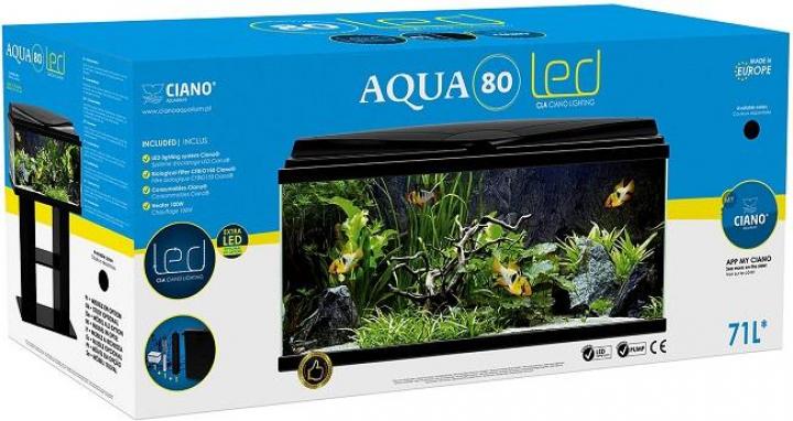 AQUA 80 Preto c filtro biologico e iluminação Led